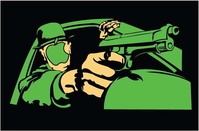 action illustration featuring the green Apple.