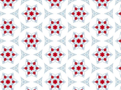 Dainty Red & White Flowers in White & Light Blue Background
