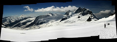 Jungfrau - Stitched! (*Hairbear) Tags: blue summer sky autostitch holiday snow alps clouds switzerland walk altitude august glacier alpine snowfield 2007 jungfrau polarised