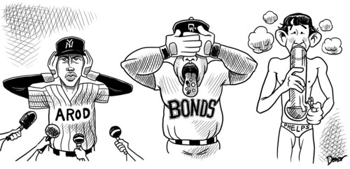 arod,bonds,phelps,drug cartoon