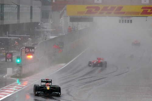 Rain falls on race day