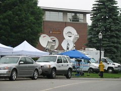 Satellite Trucks Outside of Stoutenburgh Gymnasium