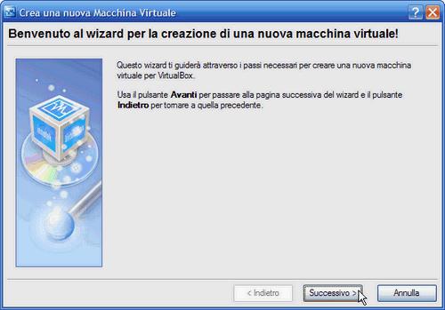 VirtualBox - wizard creazione nuova macchina virtuale