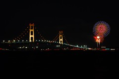 Mighty Mac at 50 (smiles7) Tags: birthday night fireworks celebration mackinacbridge mackinac