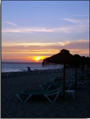 Sunset on Gale Beach (Marlowpics/ Anna) Tags: sunset holiday beach portugal gale algarve parasols sunbeds