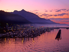 Ketchikan, Alaska - 4am (h_roach) Tags: usa mist horizontal alaska marina sunrise boats outdoors nopeople ketchikan docking harborlights alaskastateferry supershot 10faves dramaticcolors holidaysvacanzeurlaub travelerphotos outstandingtravelphotos perfectsunsetssunrisesandskys betterthangood