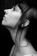 Alexis (austinspace) Tags: portrait bw woman white black neck profile explore