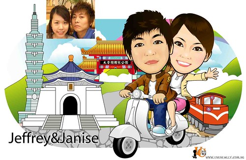 Custom Caricature Drawing Of Sweet Lovely Couple On Bike Touring Taiwan