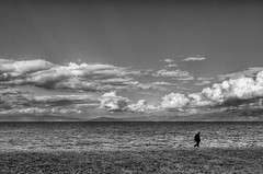 A walk alone (Nick-K (Nikos Koutoulas)) Tags: bw lake clouds contrast nikon alone walk nikos albania f4 nickk ochrid 1635mm   pogradec d700     gvr1 koutoulas