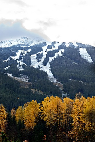Early Snow On Blackcomb Mtn & Fall Colours in the Valley