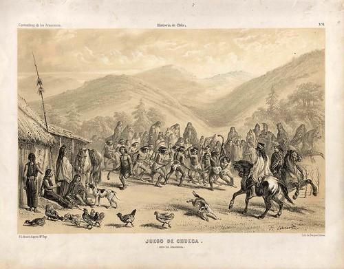 002-Juego de Chueca entre los araucanos-Atlas de la historia física y política de Chile-1854-Claudio Gay