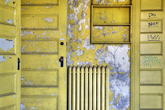 Who you callin' yellow? (Timothy Neesam (GumshoePhotos)) Tags: school urban abandoned yellow doors room timothy catskills exploration radiator urbex hudsonvalley neesam donotpass