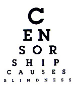 eye chart spells out censorship causes blindness