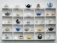 Teapots at the Tea Shop at the Grand Western Canal Country Park in Tiverton - by pigpogm