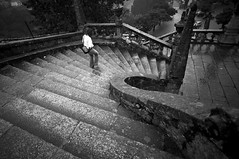 It was raining (trazmumbalde) Tags: bw portugal rain stairs arquitectura pessoas meeting pb summerrain peneda wwm pnpg nikonstuninggallery goldenphotographer blackribbonbeauty excellentphotographerawards
