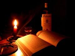 Happy hour (Daniele Mineri) Tags: night candle loneliness cigarette libro whisky melancholy malinconia bicchiere buio notturno sigaretta solitudine ballantines 10faves lumedicandela aplusphoto danielemineri