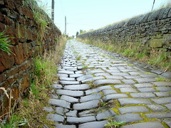 Cobbled Road (L.L. Geoff) Tags: road old wet rain wall landscape yorkshire perspective cobbled loveit 1750 walls lovelovelove halifax cobbles goldenglobe blueribbonwinner calderdale cobbledroad abigfave anawesomeshot aplusphoto excapture 100commentgroup llgeoff