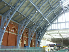 St Pancras International station, London (Richard and Gill) Tags: london station train eurostar rail railway stpancras midland trainshed midlandhotel midlandrailway lms midlandgrandhotel kingscrossstpancras stpancrasstation williamhenrybarlow midlandmainline londonstpancras stpancrasinternational barlowtrainshed