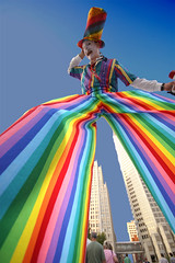 Stilts (Creativity+ Timothy K Hamilton) Tags: city man saint st louis rainbow bravo 500v20f searchthebest circus stlouis lookingup tall stilts 1500v60f 1000v40f timothykhamilton