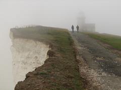 foggy beachy head (krembo1) Tags: uk england people lighthouse fog canon unitedkingdom head foggy canons2 beachy beachyhead 2007 naturesfinest diamondclassphotographer flickrdiamond krembo1