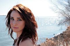 Katye. (The Vision Beautiful) Tags: red portrait lake green water girl beautiful hair 50mm eyes gorgeous redhead shore nosering smirk rockwall katyeskillman