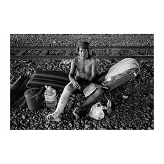 . (Emmanuel Smague) Tags: poverty leica travel portrait people blackandwhite bw man film 35mm thailand photography asia report documentary railway mp misery handicap precariousness emmanuelsmague alongtherailway