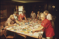 Senior Citizens in New Ulm, Minnesota, Making a Quilt...