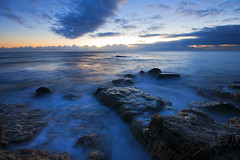 Good Morning!! (Dave Brightwell) Tags: sea sky beach water clouds sunrise reflections sand shiny rocks shadows sony formation easington a550