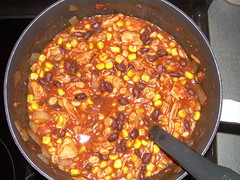 Chicken, black bean, corn chili