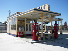Restored 1934 Gas Station (Dusty_73) Tags: california vintage retro pump signage americana petrol roadside coalinga servicestation gaspumps richfield