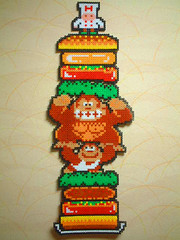 Donkey Kong Jr + Burger time (Danny_8bit) Tags: game video geek sprite bead videogame otaku hama perler perlerbead