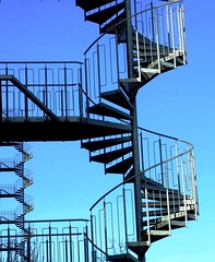 Follow these stairs... (michaelab311) Tags: sky topf25 stairs geometry lka twist double exhibition invitation helix dusseldorf now dsseldorf staircases duesseldorf photooftheday onblue themoulinrouge nightphotographer mywinners abigfave temporarygallery superaplus aplusphoto holidaysvacanzeurlaub letstwistagain 27august2007 thegardenofzen