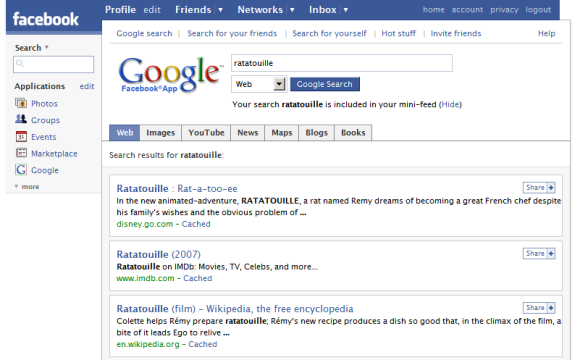 Google Facebook application screenshot from GoogleSystem.blogspot.com