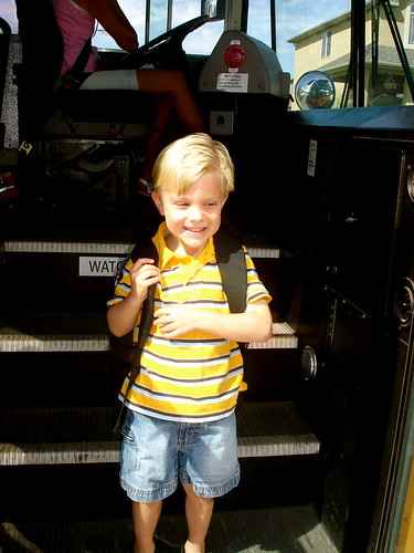 Max on the schoolbus, first day of school