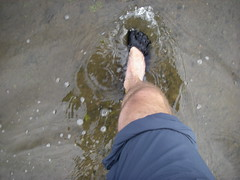 Vibrams on the flooded path: shin-deep water