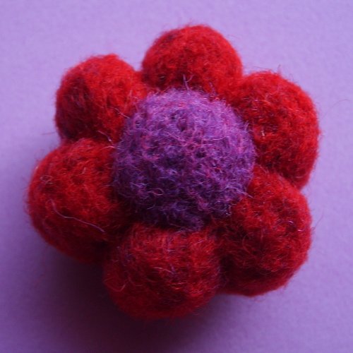 Needle Felted Flower Pendant with custom colors, hot pink and red