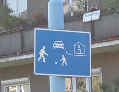 story on a sign (cyanocorax) Tags: house car sign slovakia sled hobbit bratislava tdwg