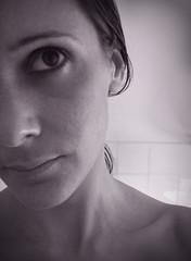 self aware (supernixster) Tags: portrait blackandwhite selfportrait shy supernixster