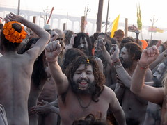 Dancing nagas during Ardh Kumbh Mela