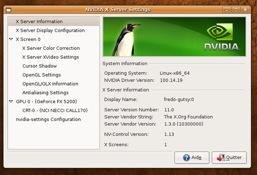 Pilote Nvidia linux 100.14 sous Ubuntu Gutsy Gibbon beta.