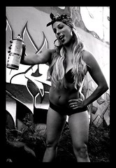 Graffiti Pinup - Dana Tkacz (Danny Girl Photography) Tags: fashion graffiti mami smoking spraypaint latina hoops gangsta pinup wifebeater danatkacz
