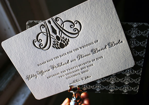 Letterpress save the dates, strong black ink: by Smock