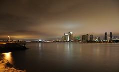 A 5 Second View of San Diego (Seth Oliver Photographic Art) Tags: california clouds nikon skyscrapers sandiego cityscapes citylights nightshots driftingclouds southerncalifornia coronado pinoy urbanscapes sandiegobay ussmidway longexposures d90 sooc minorcrop setholiver1 18105mmnikkor circularpolarizers coronadotidelands