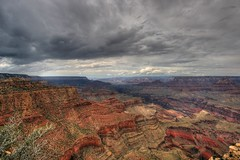 Grand Canyon (johnroberts2) Tags: world park arizona sky usa west rock wonder flora exposure time foreboding dramatic grand az canyon erosion national sediment coloradoriver layers peaks rim drama hdr stratified southrim northrim valleys