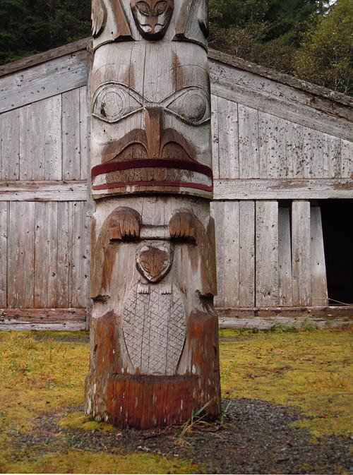 semi dry totem pole, Kasaan, Alaska