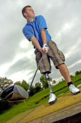 Wounded soldier playing golf