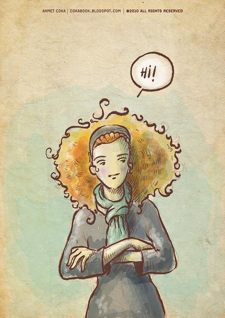 curly-haired woman / çok saçlı kadın