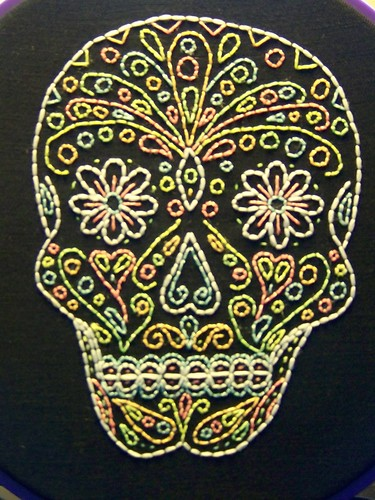 Sugar Skull Embroidery (close up)