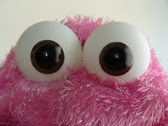 Pink Monstre (staceyrebecca) Tags: ball mouth puppet handmade pingpong etsy fleece articulated imadeit handpuppet