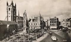 Pre-war Plymouth city centre (Richard and Gill) Tags: old city blackandwhite church buses postcard plymouth standrewscross devon standrews citycentre guildhall prewar parishchurch bedfordstreet municipaloffices basketstreet